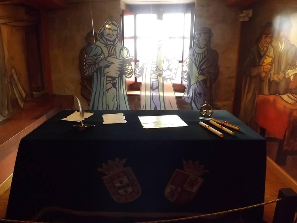 recreación de la negociación del Tratado de Tordesillas.